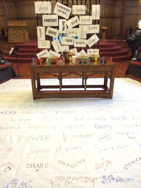 interactive prayer stations on Micah 6 & stewardship; T. Cho
