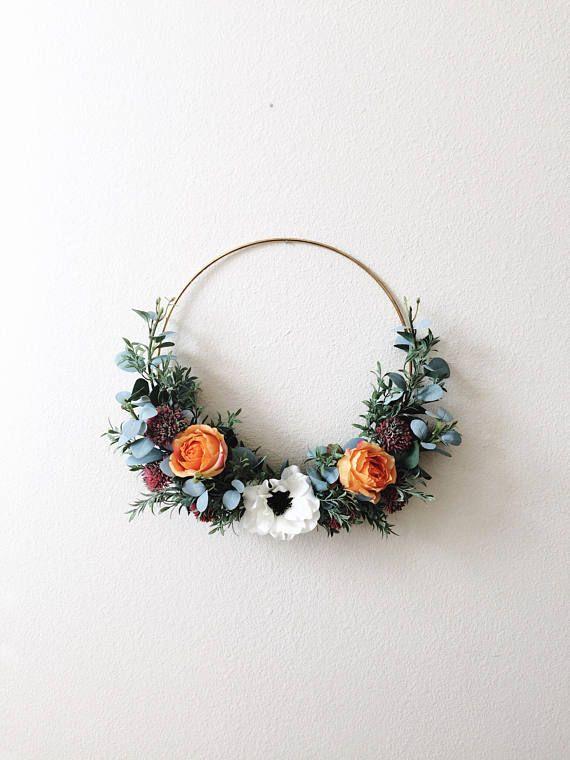 Mother S Day Gift Modern Wreath Front Door Gold Hoop Minimal Minimalist Eucalyptus