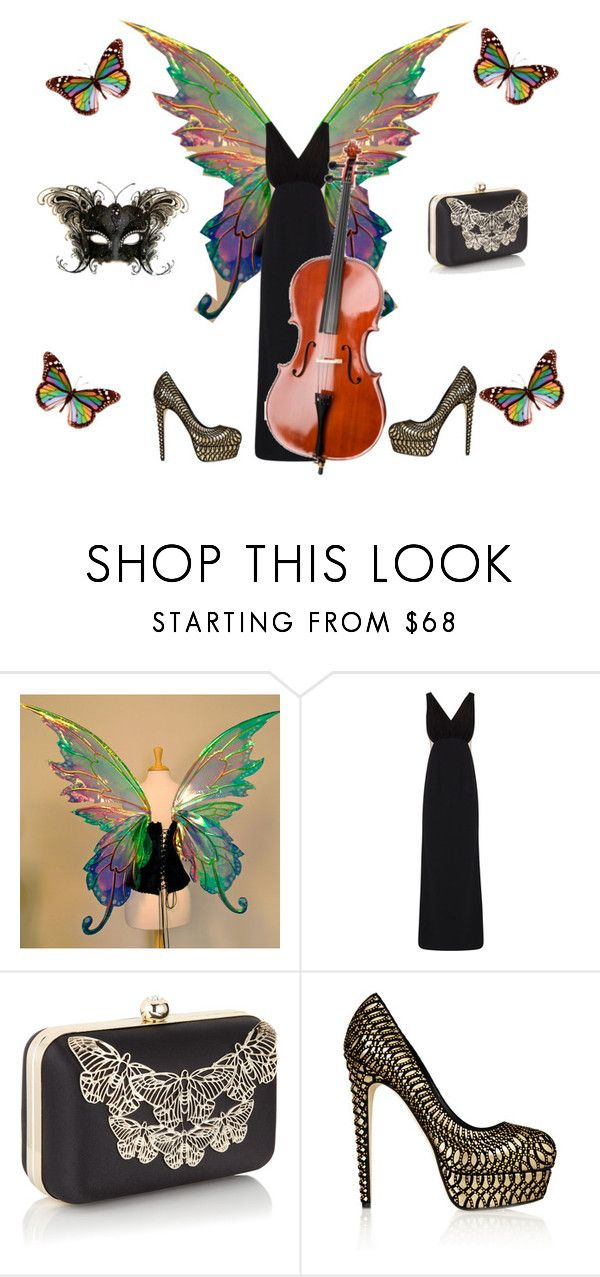 """rainbow Cello"" by tinatoldme ❤ liked on Polyvore featuring Paule Ka, Accessorize, Brian Atwood, Presto and rainbow butterfly"
