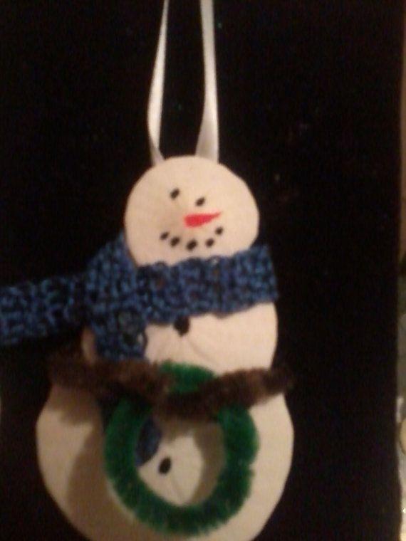 Sand Dollar Snowmanl Christmas Ornament