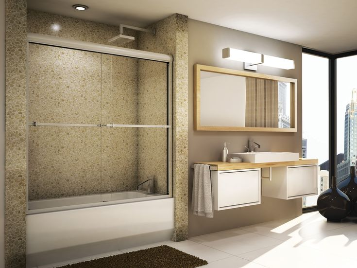 Add a beautiful 6mm or 10mm sliding shower door to your bathtub/shower combo - a great alternative to the boring old shower curtain!