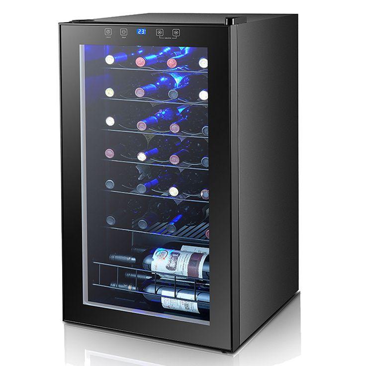 Smad 28 Botellas Termoeléctrica enfriador de Vino Nevera Compresor Refrigerador de Vino Bodega Independiente/Refrigeración Para El Hogar Bar-Negro