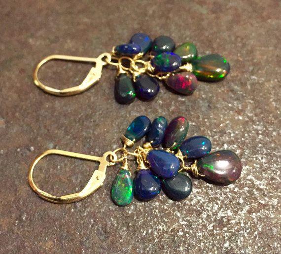 ABO1 Black Opal Cluster Earrings Ethiopian Black Opals by kabyco