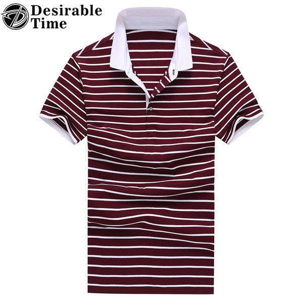 Men's Red Striped Polo Shirt Short Sleeve Summer Casual Breathable Men Cotton
