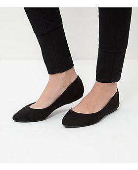 Black Suedette Pointed Pumps  | New Look