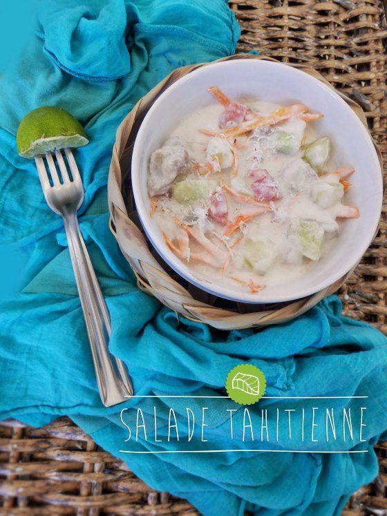 salade tahitienne - 250 g de thon frais (ou poisson blanc) - 2 citrons verts - 1 tomate - 1 concombre (petit) - 2 carottes - 1 boîte de lait de coco - sel, poivre - 2 cuillères à soupe de coco râpée - 200g de riz blanc (facultatif)