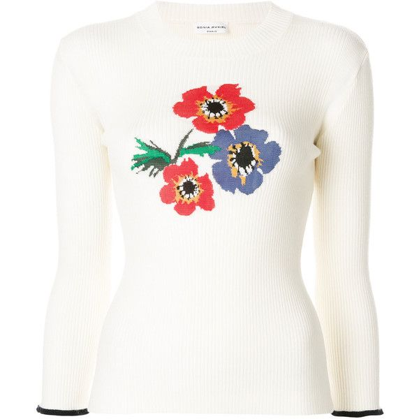 Sonia Rykiel Floral Intarsia Jumper (575 CAD) ❤ liked on Polyvore featuring tops, sweaters, white jumper, floral print tops, floral print sweater, sonia rykiel sweater and floral jumper