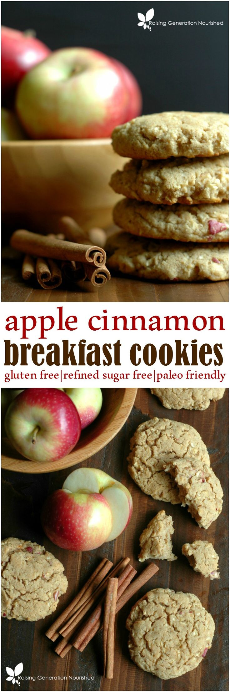 Healthy Apple Cinnamon Breakfast Cookies :: Refined Sugar Free & Gluten Free