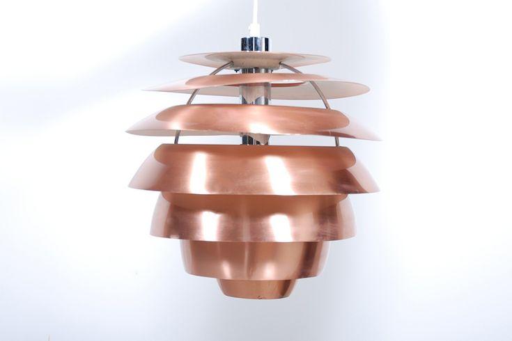 Stilnovo suspension lampe plafonnier cuivre vintage design
