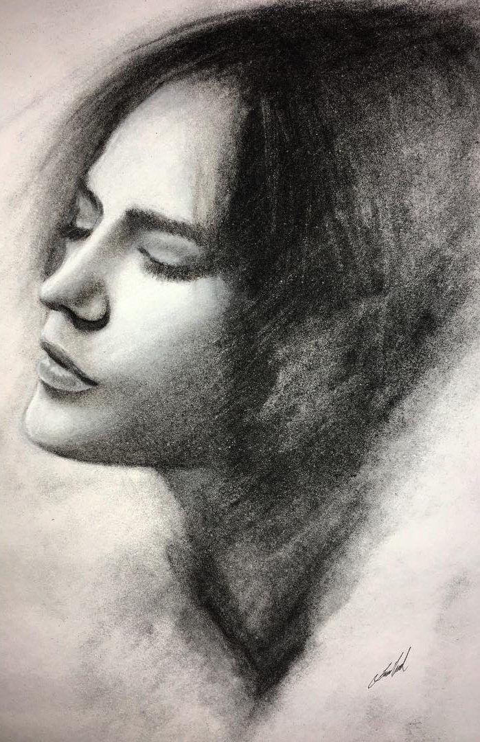 framed Self Love charcoal sketch