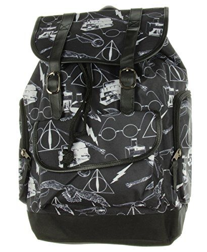 Slouch backpack with allover symbol design inspired by Harry Potter. Snap button and drawstring closure.