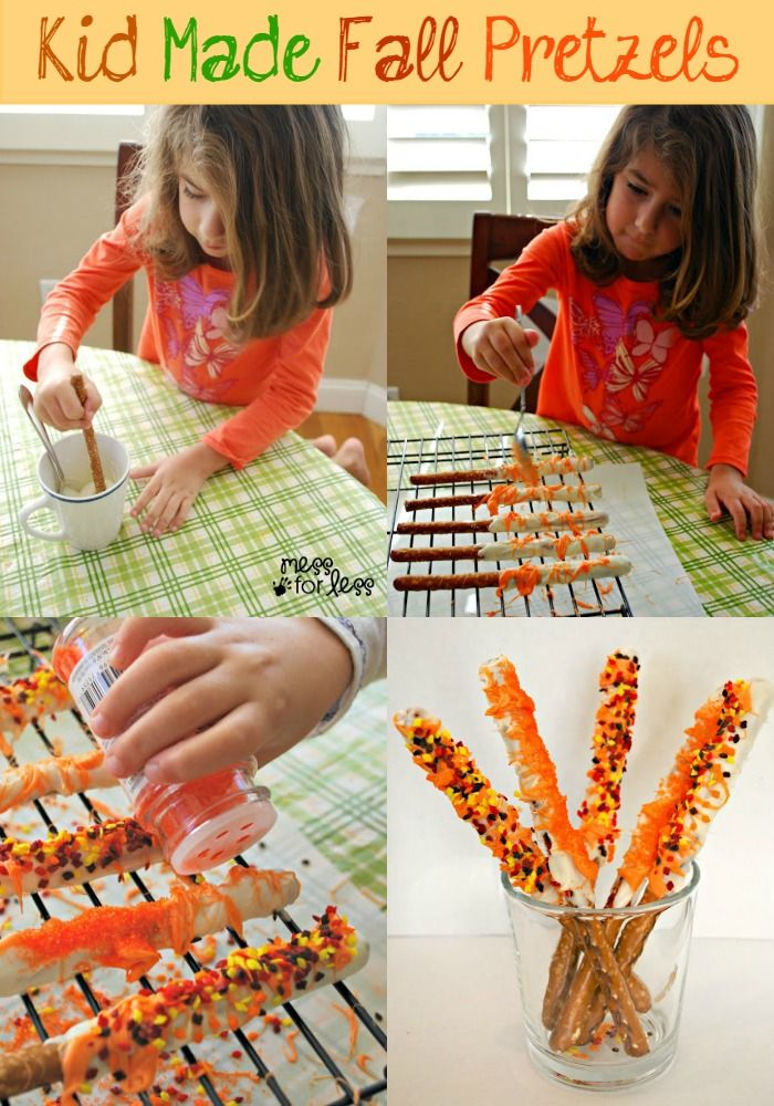 Fall Snack - Hand Dipped Fall Pretzels | Mess For Less