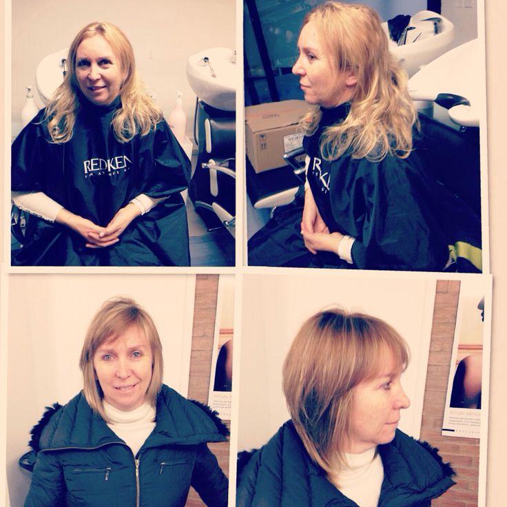 New look , antes y después , corte y color