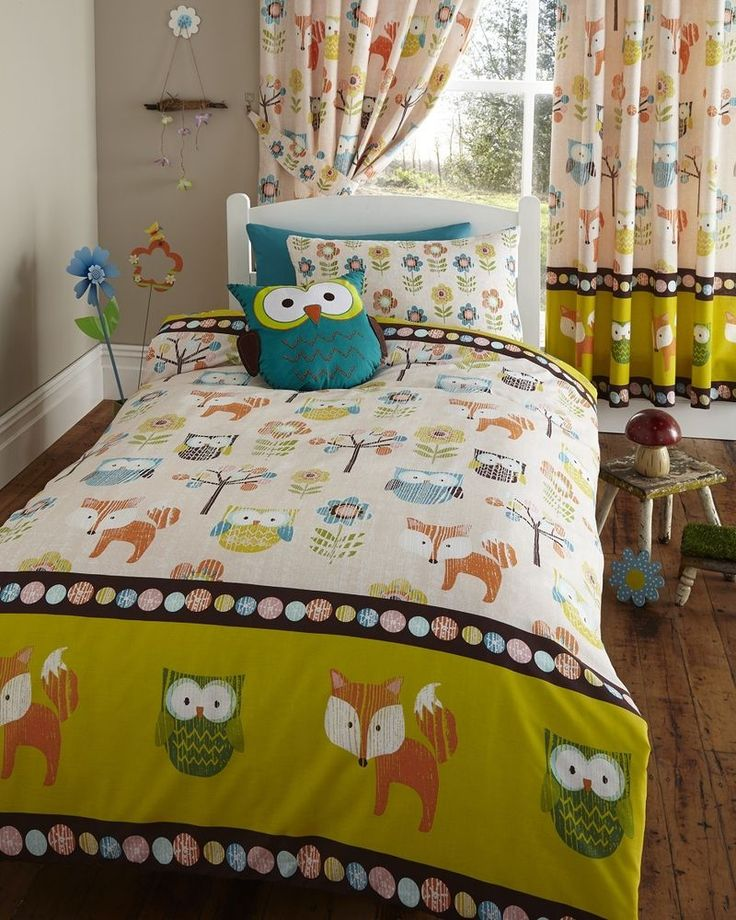 Single Bed Duvet Cover And 1 Pillow Case Set Woodland