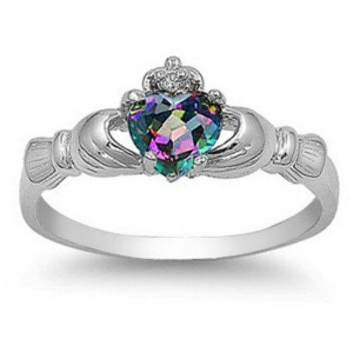 Sterling Silver Claddagh ring Rainbow Mystic Topaz size 4 5 6 7 8 9 10 CZ Irish   eBay