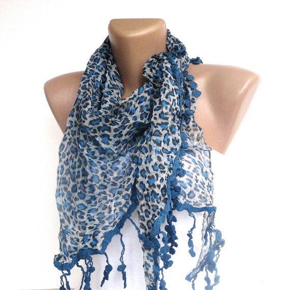 NEW blue leopard WOMEN SCARF  2013 Scarf trend by scarvesCHIC, $19.50