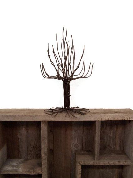 Tiny Barbed Wire Tree Barbed Wire Sculpture by barbwireandbarnwood, $15.00