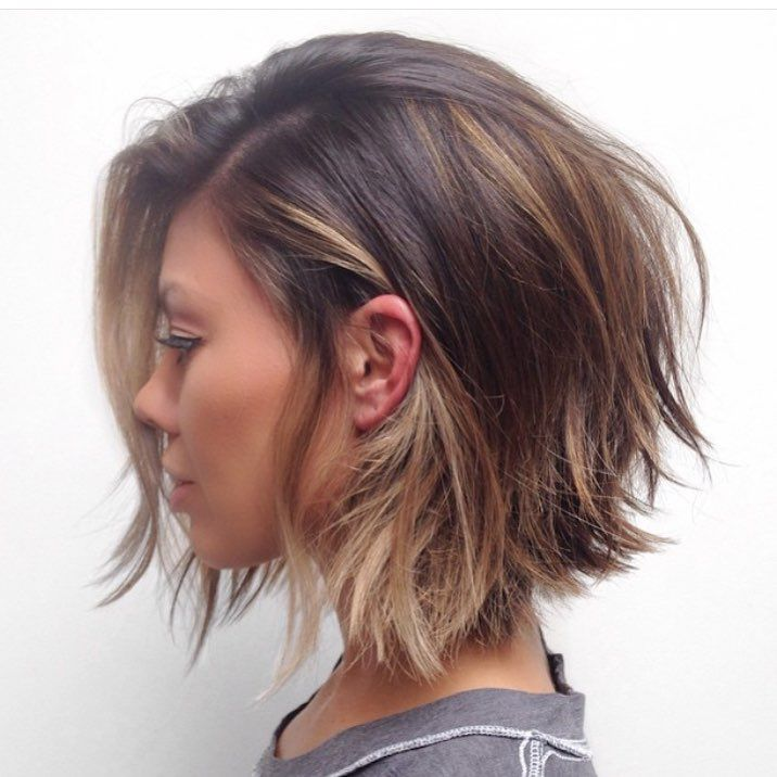 Cute short hair. Long angled bob