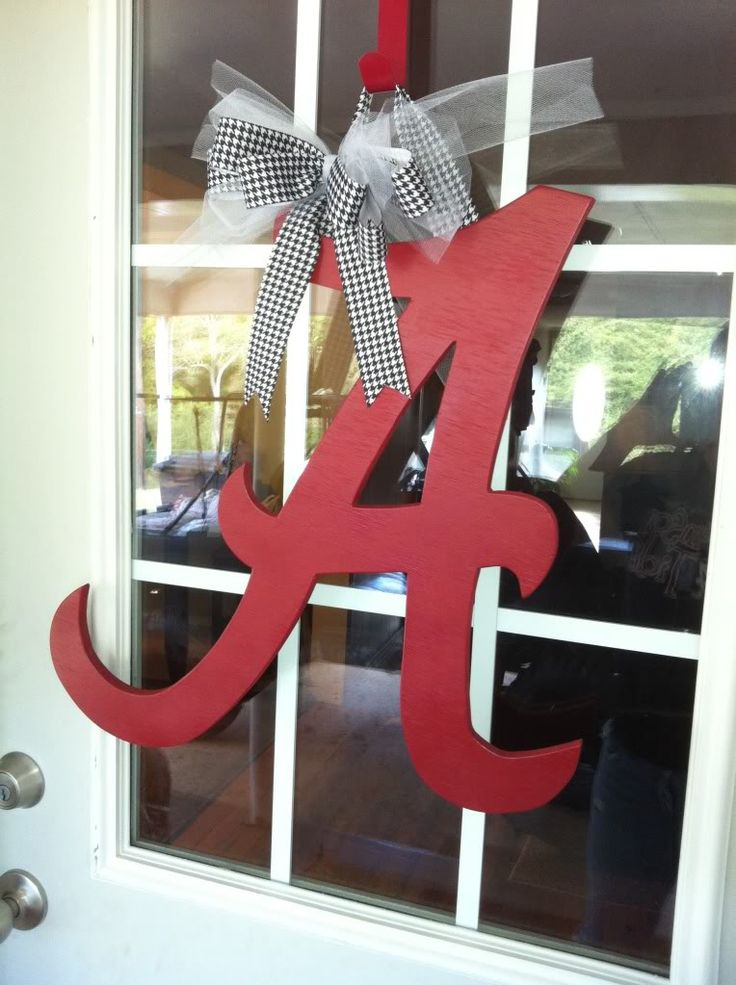 "wooden door wreaths | ALABAMA CRIMSON TIDE ""A"" WOOD DOOR WREATH - ROLL TIDE !!"