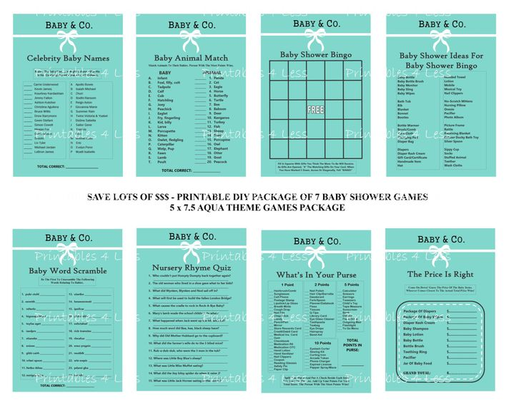 Aqua Baby Shower Game Turquoise Baby Shower Game Baby Shower