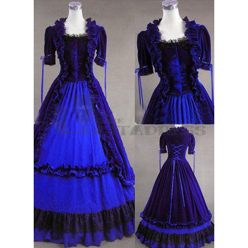 Good Qualtiy Short Sleeves Lace Ruffles Blue Gothic Victorian Dress Best Fancy Dress Costumes for Women