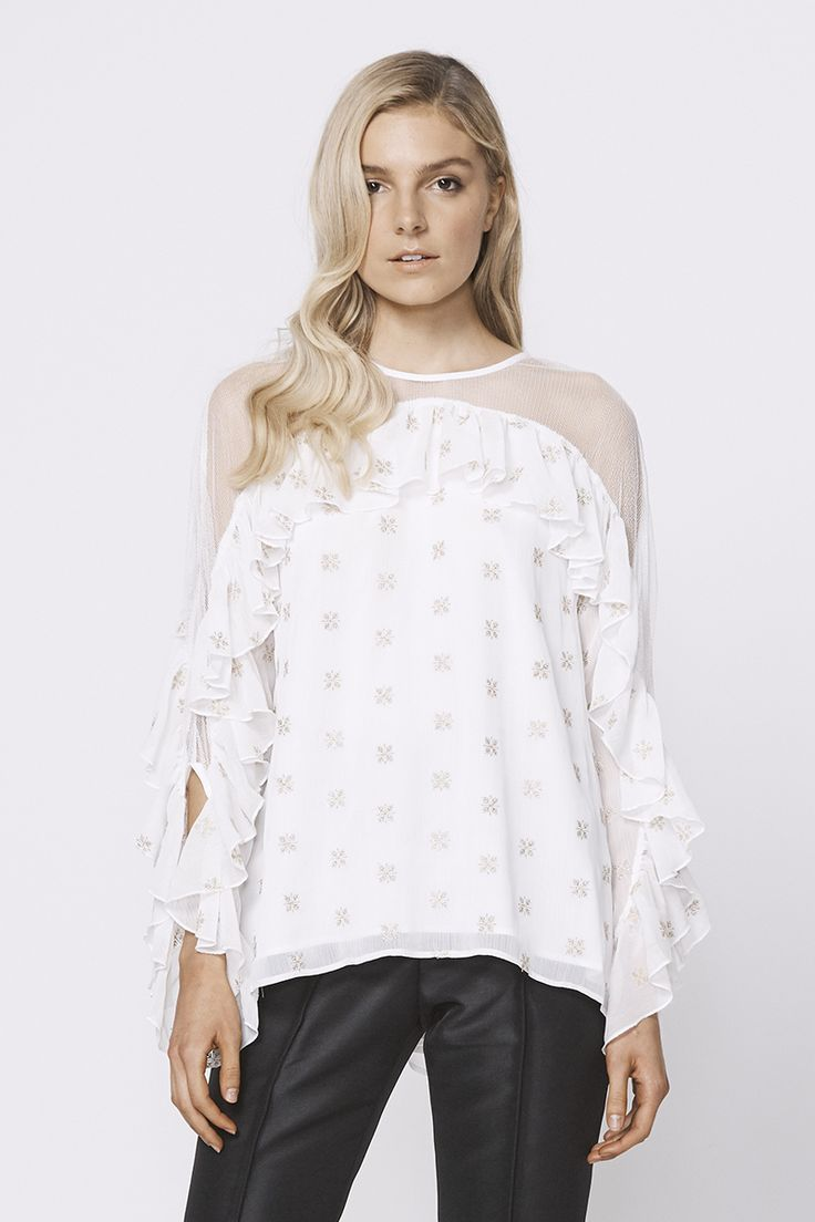 Stevie May Cosmic Currents Gold Embroidery Top