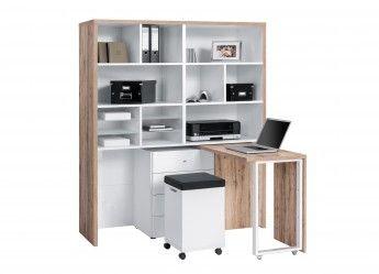 Bureau modulable contemporain avec rangement chêne/blanc Cody
