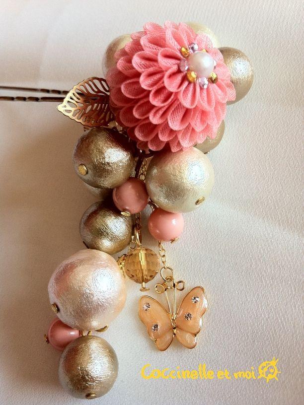 【商品】パールとピンクぽんぽん菊のかんざし☆つまみ細工