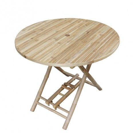 Bamboe inklapbare tafel; 90 doorsnee en 75 hoog; 62,99