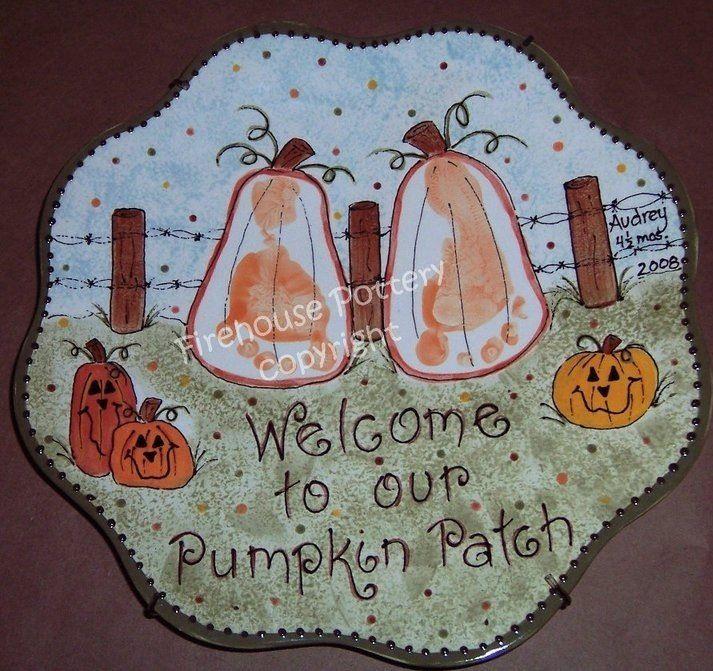 pumpkin handprint pottery - Halloween Ceramic Plates