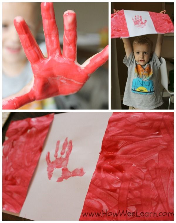 Hand print art meets Canadian Pride! Such a cute and simple activity to add to the Canada Day Crafts line-up! An awesome Canada Flag activity for preschoolers or toddlers. www.HowWeeLearn.com