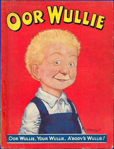 "The 3rd Oor Wullie annual, created in 1950. A baby faced looking Wullie, firing a cheeky little grin. For all the trouble he stirs up, he certainly takes it on the chin! ---- ""Oor Wullie's awa' tae bide awa' He's no' awa' tae leave ye - Each Sabbath morning in ""The Sunday Post"" He'll aye be back tae see ye!"""