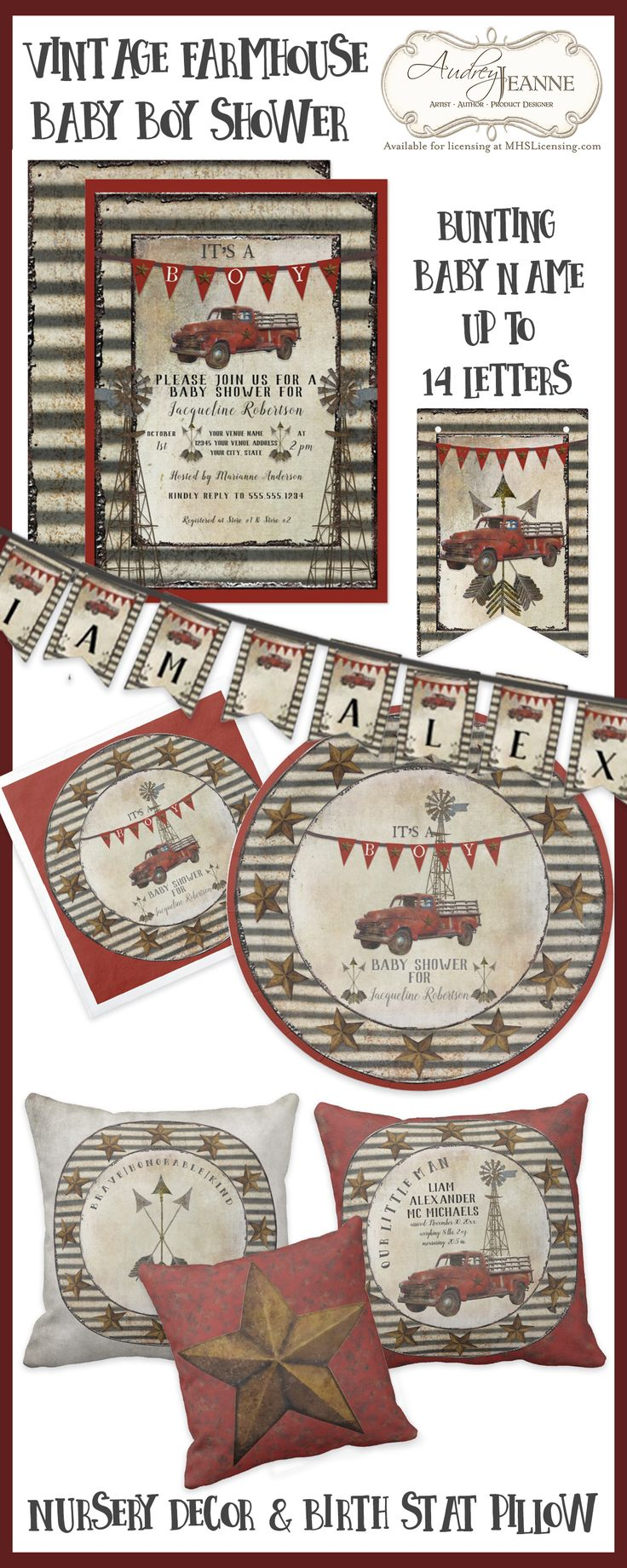 FARMHOUSE Rustic Country Baby Boy Shower & Nursery Decor | Original artwork in a worn rusted style perfect for Farm themed baby shower #rustic #farm #farmhouse #decor #baby #shower #boy #vintage #red #gray #black #tan #truck #boho #arrows #corrugated #rusted #tin #roofing #windmill #birthstats #pillow