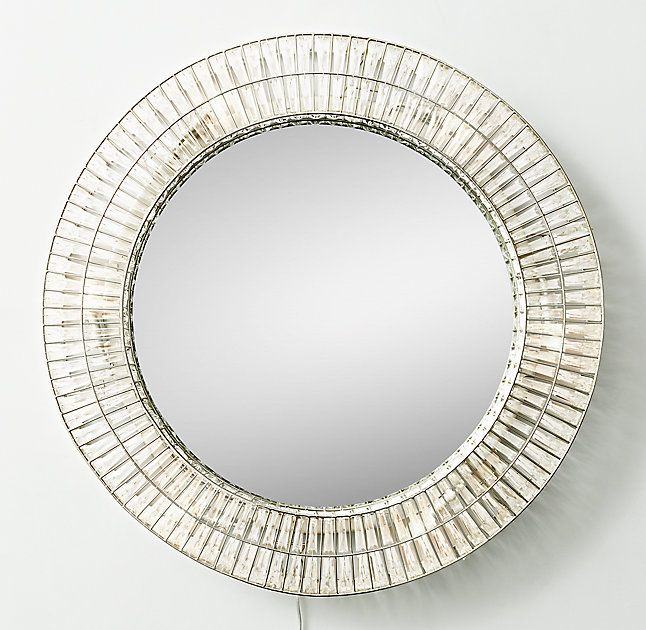 Illuminated Crystal Large Round Mirror