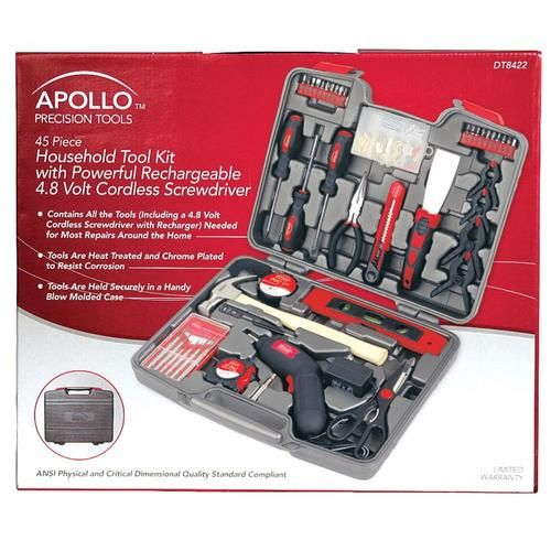 Apollo Precision Tools 144 PC Homeowners Tool Kit with 4.8V Cordless Screwdriver - Sears