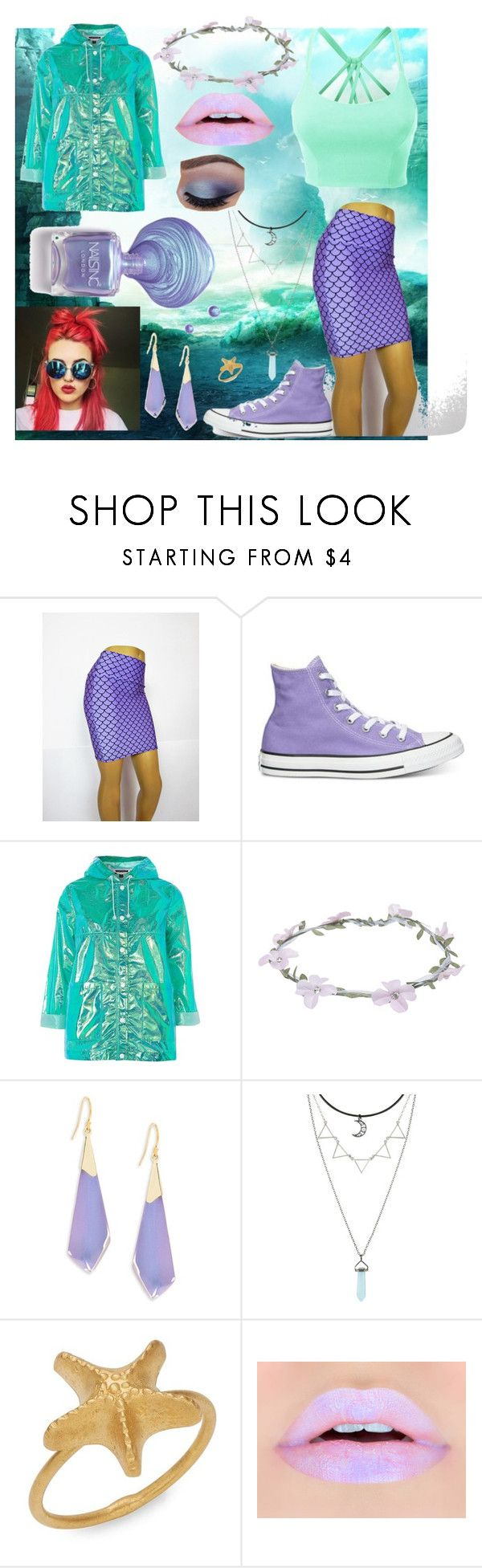 """Pastel Ariel Outfit <3"" by thisisagoodname ❤ liked on Polyvore featuring LE3NO, Converse, Topshop, Wet Seal, Alexis Bittar, Hot Topic and Valentino"