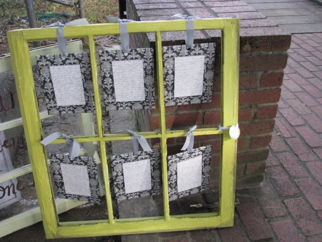 Love this shabby/chic idea...old window pane as a multi-picture frame.