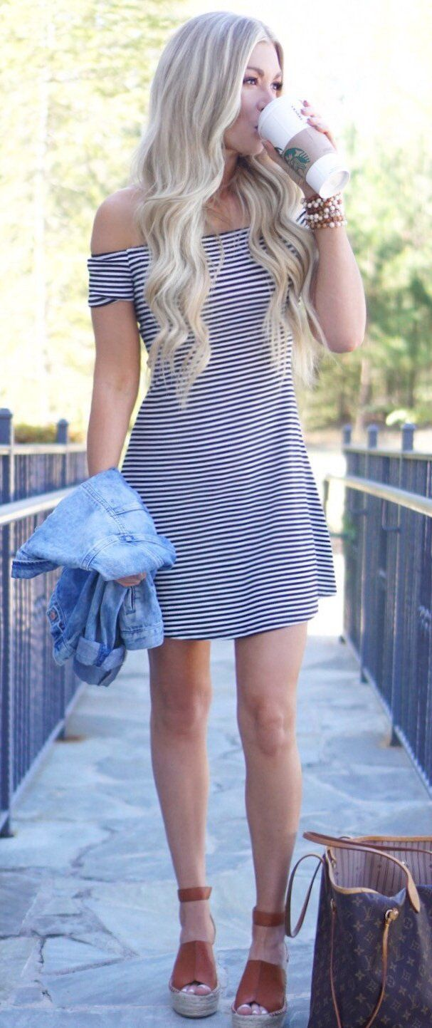 #spring #outfits  Give Me All The Coffee & Off-the-shoulder Dresses! ☕️