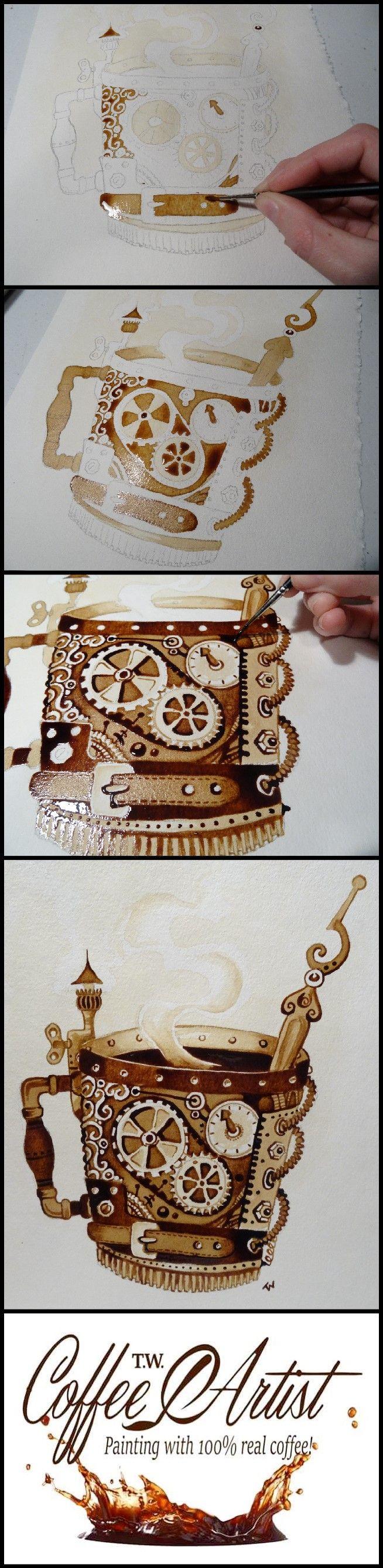 Steampunk, Coffee, Mug, Painting