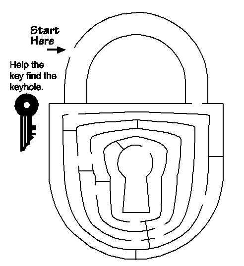 Help the key find the keyhole in the padlock maze free for Key coloring page