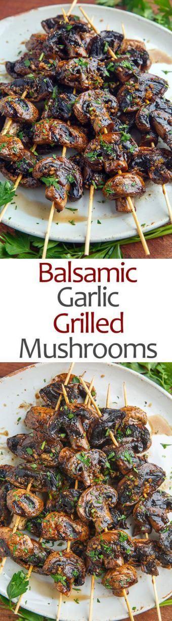 healthy vegan dinners mushroom skewers, http://thegreenloot.com/easy-healthy-vegan-dinners/