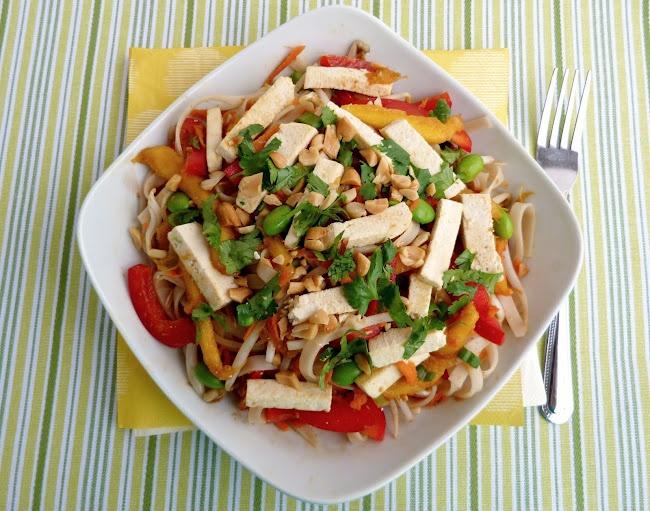 vegan: spicy rice noodle salad with tofu...