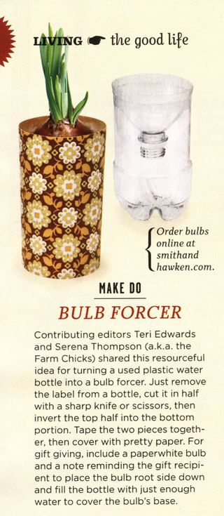 Recycle 2 L bottles to make bulb forcers! Super cute gift idea!
