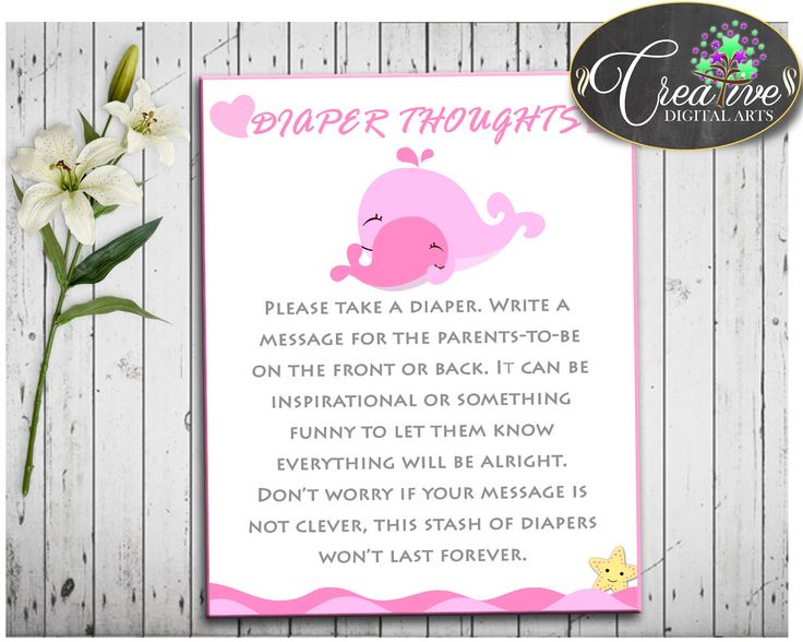 Baby Shower Sea Shower Pink Waves Diaper Message Diaper Thoughts DIAPER THOUGHTS, Party Organizing, Party Stuff, Printables - wbl02 #babyshowerparty #babyshowerinvites