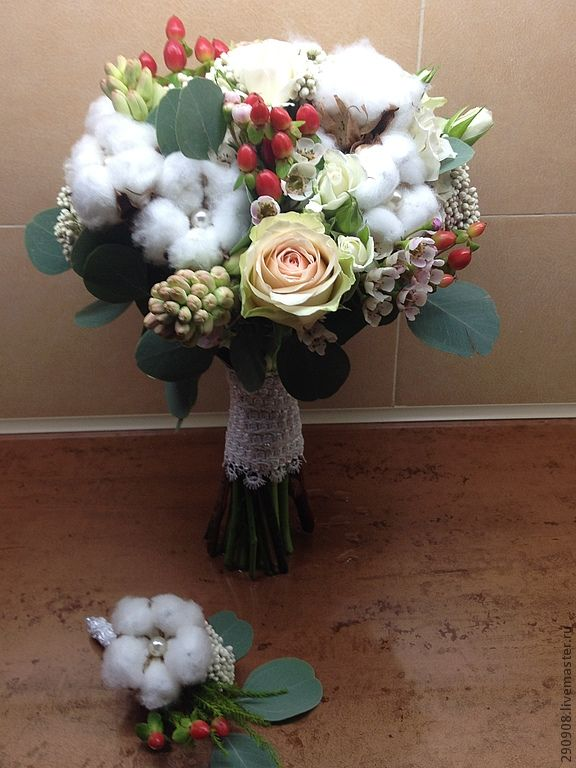 """Купить Зимний букет невесты """"Виктория"""" - белый, букет невесты, зимний букет, букет с хлопком"""