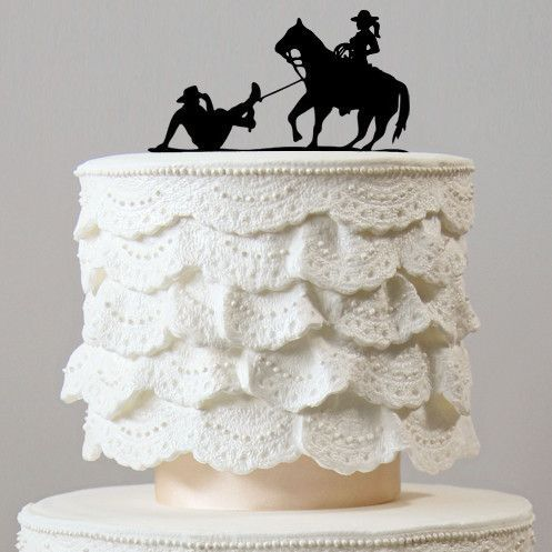 Wedding Cake Topper (Humorous Funny /Country Western Rustic /Cowboy &Horse)