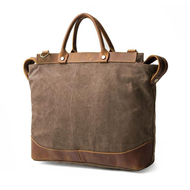 Brown canvas & leather bag for your weekend travel in vintage style