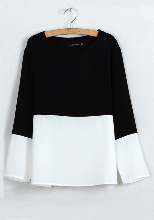 so pretty, color block black and white top