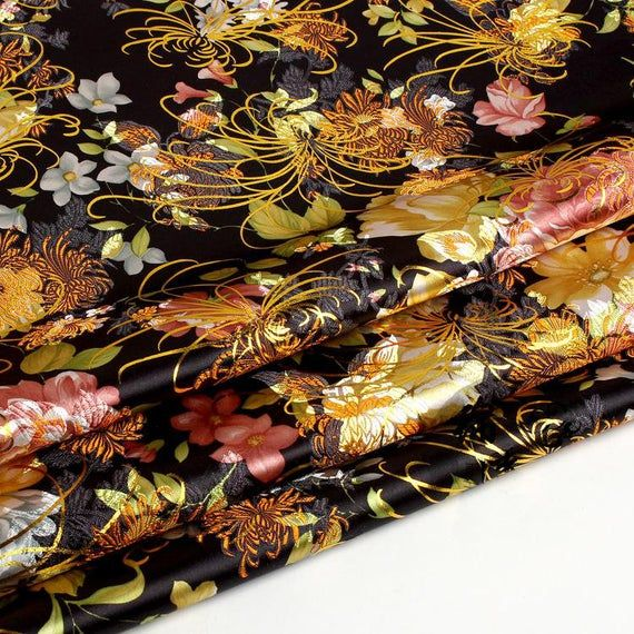 Chinese Satin Fabric Brocade Jacquard Damask Tang Suit Upholstery By M Flower