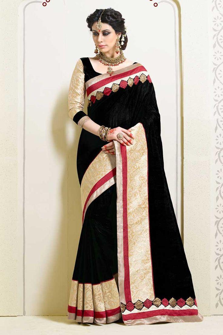 #AndaazFashion Présente Noir Art sari de soie avec chemisier  http://www.andaazfashion.fr/womens/sarees/black-art-silk-saree-with-blouse-dmv8546.html